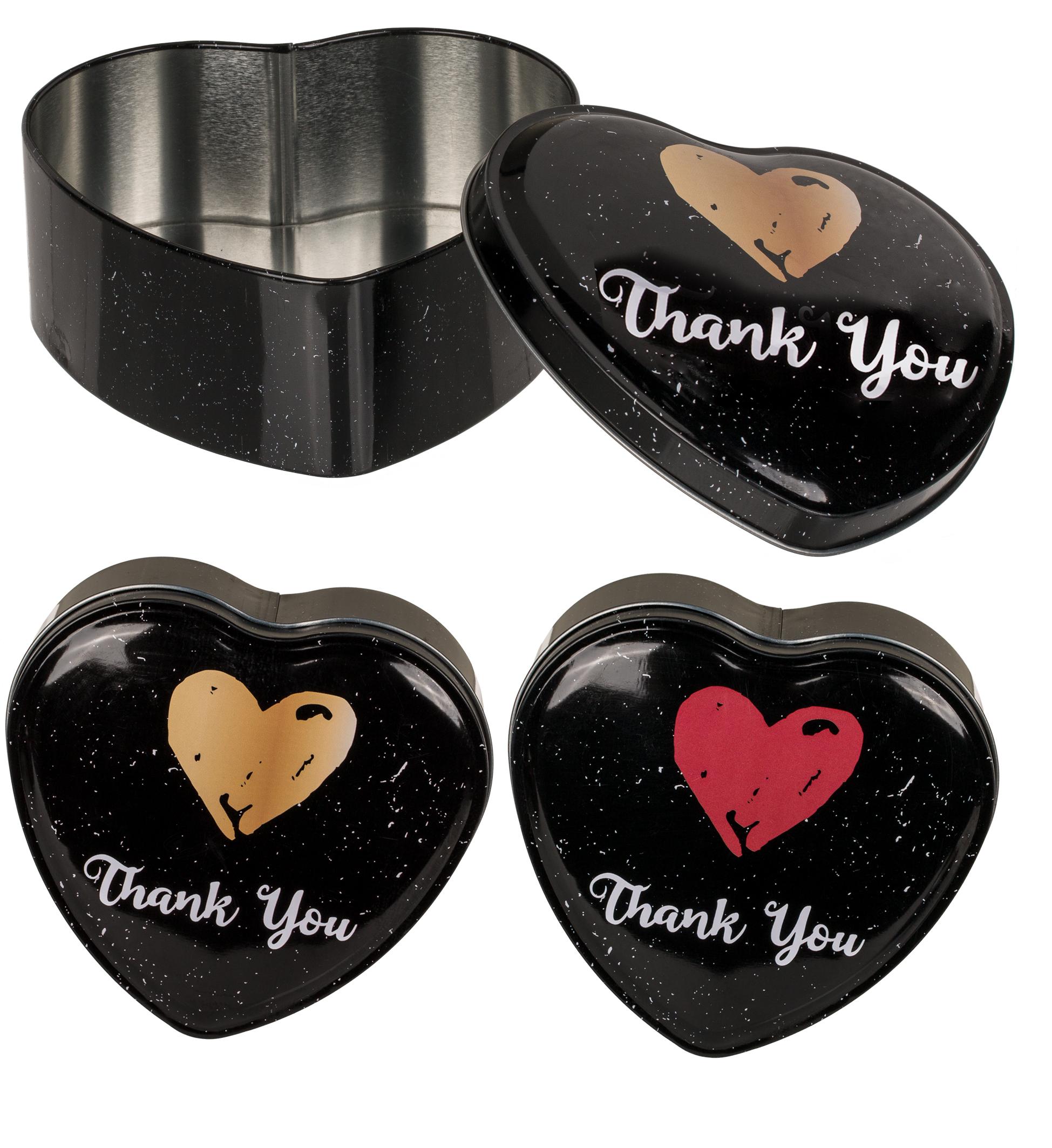 "Herzförmige Metall-Dose ""Thank You"""